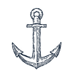 vintage anchor hand drawn sketch logo design vector image vector image