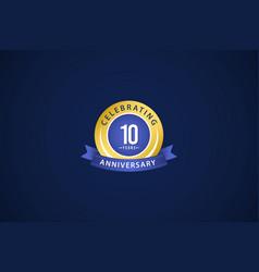 10 years anniversary celebrating blue logo vector