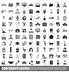 100 craft icons set simple style vector