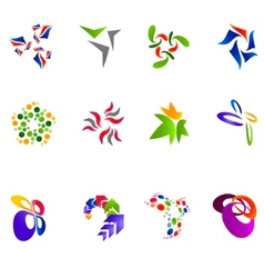12 colorful symbols set 15 vector image