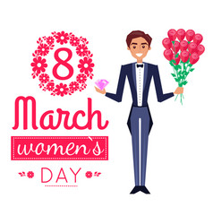 8 march womens day poster man vector