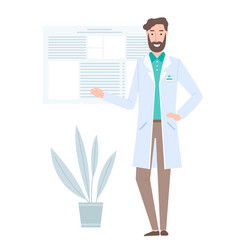 A doctor in a white coat with a badge works in a vector