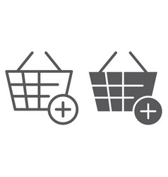 add to bucket line and glyph icon internet and vector image