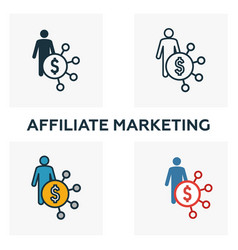 affiliate marketing icon set four elements in vector image