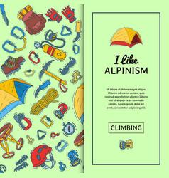 Alpinism equipment seamless pattern vector