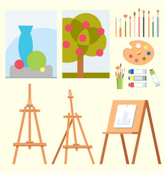 art tools flat painting icons details stationery vector image