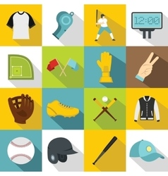 Baseball icons set flat style vector image