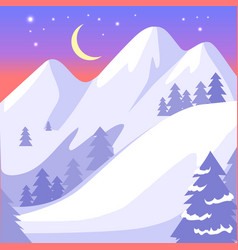 Beautiful landscape of high snowy white mountains vector