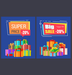 big super sale best prices discounts promo posters vector image