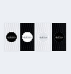 Black and white banners with honeycomb textures vector