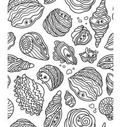 black and white cute kawaii seashells seamless vector image