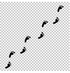 black human footprint path on transparent vector image