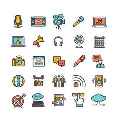 blogging color thin line icon set vector image