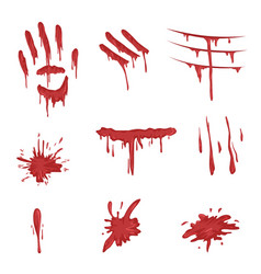 Blood spatters set red palm prints finger smears vector