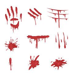 Blood spatters set red palm prints finger smears vector