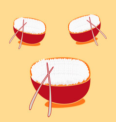 Boiled white rice in watercolor sketchy dish vector