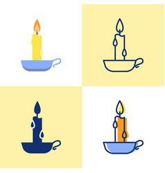 Burning candle in a holder icon set in flat vector