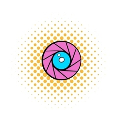 Camera aperture icon comics style vector