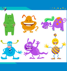 Cartoon fantasy monster and alien characters set vector