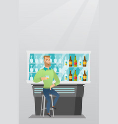 Caucasian man sitting at the bar counter vector
