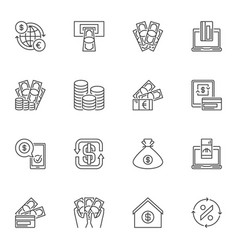 collection of financial outline icons vector image