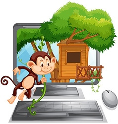 Computer screen with monkey playing at treehouse vector