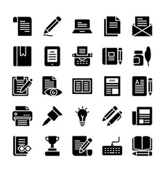 copywriting solid icons pack vector image