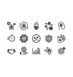Core values icons integrity target purpose and vector