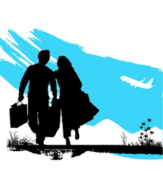 couple wallking vector image