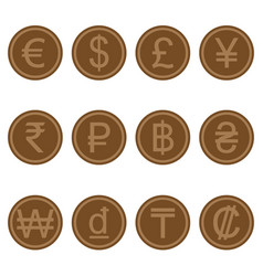 currency symbols icons simple brown wooden set vector image