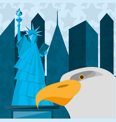 Cute statue of liberty with eagle in new york city vector
