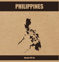 detailed map of philippines on craft paper vector image