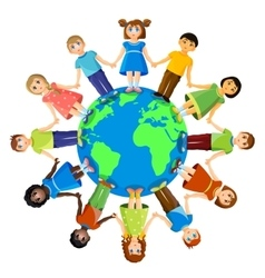 Different children standing around earth planet vector
