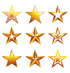 different golden stars icons isolated set vector image