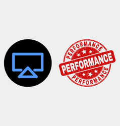 Display icon and distress performance stamp vector