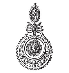 earring circular open work set vintage engraving vector image