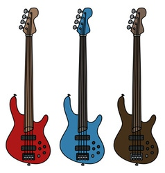 Electric fretless bass guitars vector