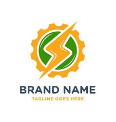 electric gear circle logo design vector image