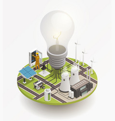 electric power isometric composition icon vector image
