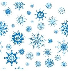 Elegant blue snowflakes of various styles isolated vector
