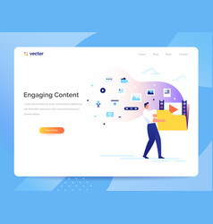 Engaging content concept man carries a large vector