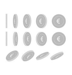 European union euro rotating coins set animation vector
