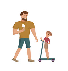 father and son walking at the park vector image