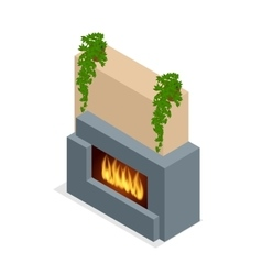 Fireplace modern design Flat 3d isometric vector