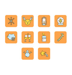 Flat color winter season icon set vector