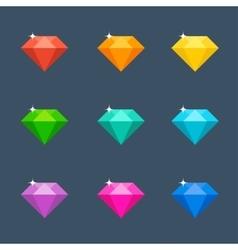 Flat diamond with shadow vector