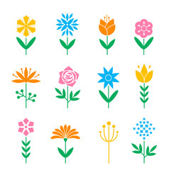 Flower icon set vector