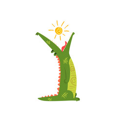 friendly crocodile swallowing the sun funny vector image