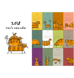 Funny striped cats design calendar 2018 vector