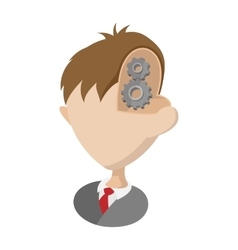 Gear in head icon cartoon style vector image